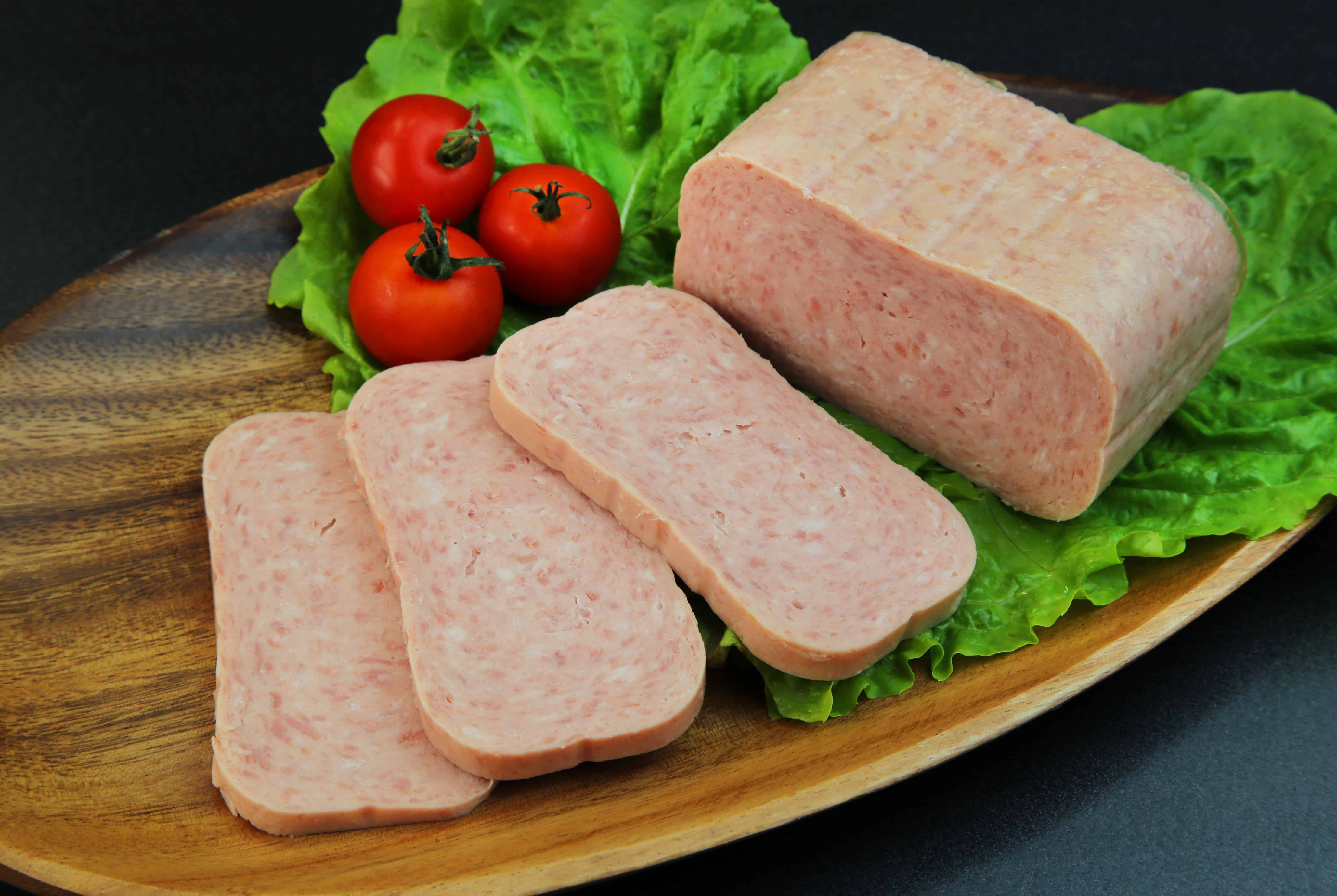 Spam canned meat displayed with flourishes