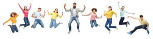 happiness, freedom, motion, diversity and people concept - international group of happy smiling men and women jumping over white background