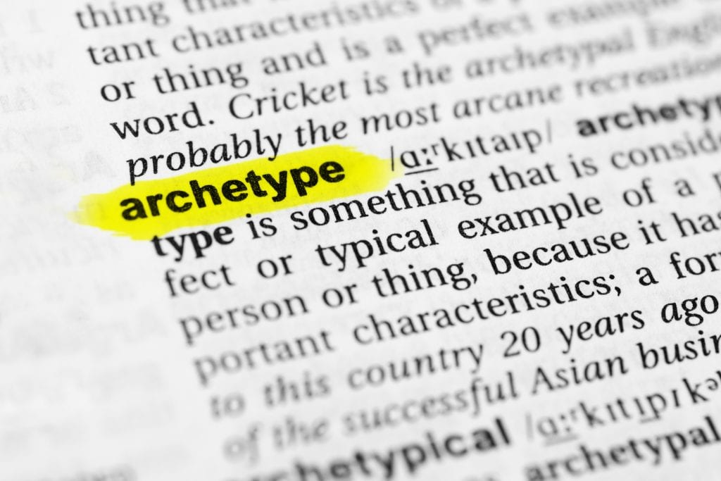 "Highlighted English word ""archetype"" and its definition in the dictionary."
