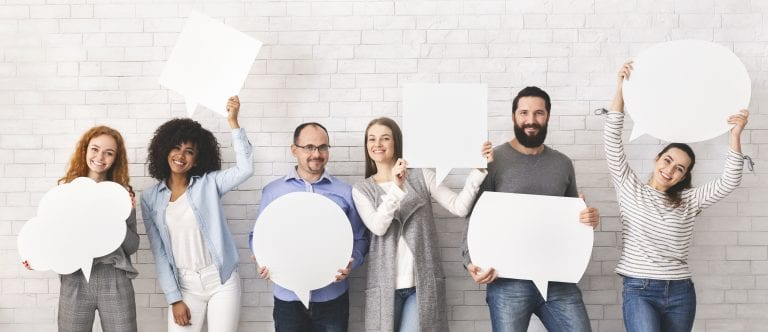 Everyone has own opinion. Group of millennial people holding empty white speech bubbles, free space