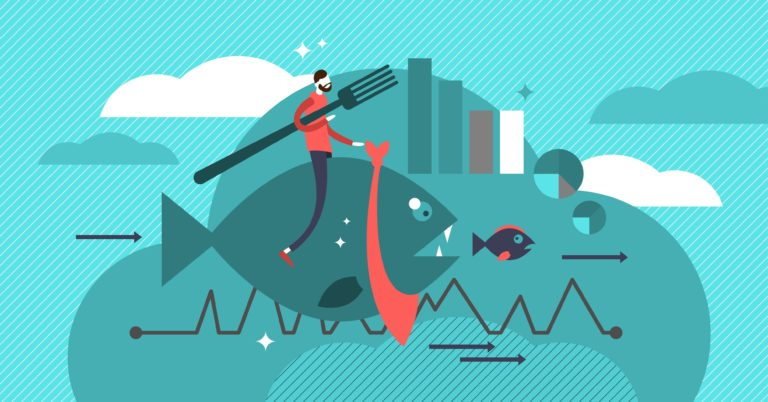 An infographic of a large fish cannibalization a smaller fish to represent content cannibalization