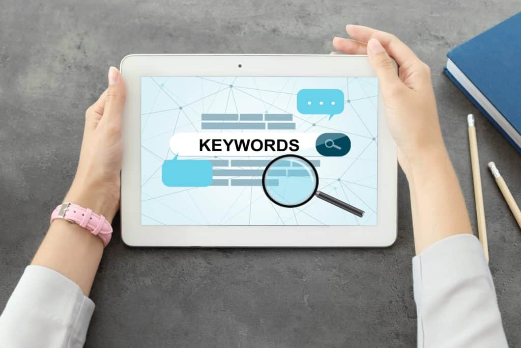 Keyword research on a tablet